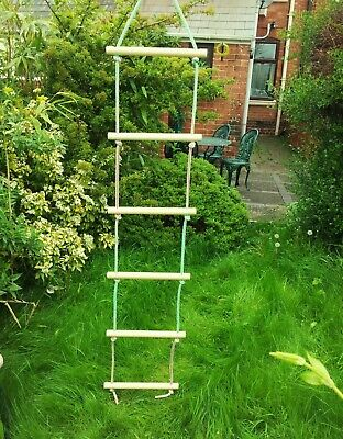 £12.99 • Buy New Wooden Rope Ladder Swing 6 Rungs Natural Wood