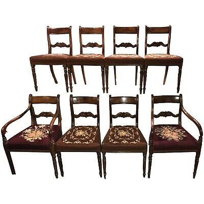 $1850 • Buy Set Of 8 Mahogany English Regency Dining Chairs With Needlepoint Upholstery