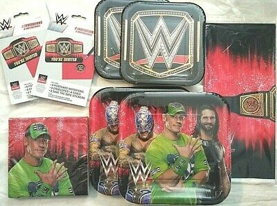 WWE SMASH Jon Cena Birthday Party Supply DELUXE W/ Invites ,Lunch/Dinner Plates • 22.87£