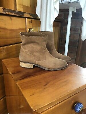 AU49.99 • Buy OYSHO Made In Spain Tan Suede Boho Ankle Boots - Size 38 - Nina Proudman