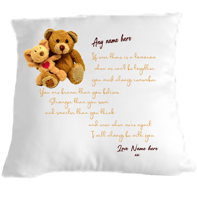 Personalised Cuddle Cushion Teddy Bear Grandson Granddaughter Gift Remembrance  • 9.99£