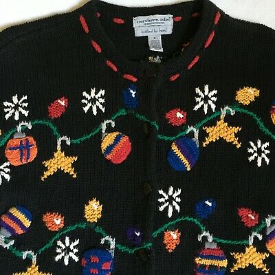$25 • Buy Northern Isles Hand Knit Black Christmas Decorations Snowflakes Cardigan Small S