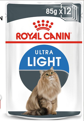 12 X 85g ROYAL CANIN ULTRA LIGHT WITH GRAVY ADULT WET POUCH CAT FOOD POUCHES • 14.99£