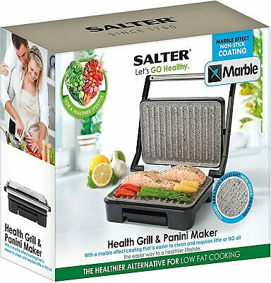 Salter Marble Collection Health Grill Panini Maker Sandwich Press Stainless Stee • 24.99£
