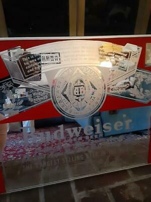 $ CDN316.42 • Buy Rare Vintage Budweiser Larger Beer Mirror Bar Sign  Great For Bar Or Man Cave