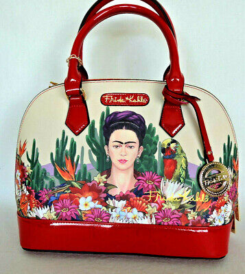 $71.99 • Buy FRIDA KAHLO  Cactus Series Large Satchel Messenger Bag Beige W Red & Coin Purse