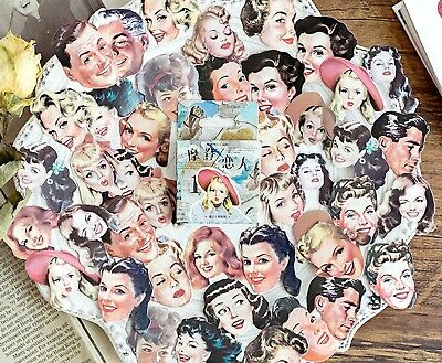 46 FAMOUS PEOPLE STICKERS Vintage Movies Scrapbook Card Making Craft Decoration • 2.69£