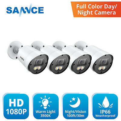 $80.99 • Buy SANNCE 4pcs HD 1080P Full Color Night Vision 2MP Security Camera LED Warm Light