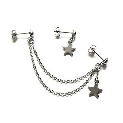 £8.99 • Buy Helix Cartilage To Lobe Star Chain Earring Stainless Steel Double Piercing