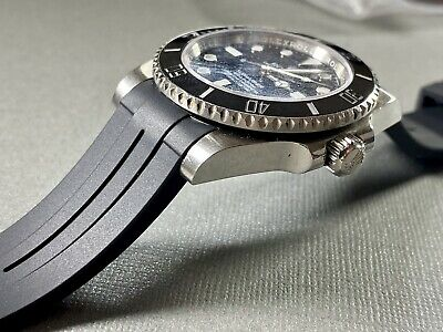 $ CDN52.25 • Buy 20mm BLACK Vulcanized Rubber Strap Band Fits Rolex Watch Submariner Daytona