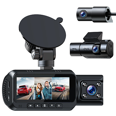 AU177.64 • Buy TOGUARD 3 Channel 4K Dash Cam For Cars W/GPS Logger 1080Px3 Front Inside/Cabin