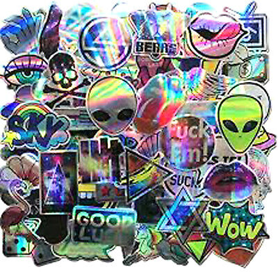 60 HOLOGRAPHIC STICKERS Graffiti Decal Skateboard Laptop Skate Bomb Luggage Cool • 6.79£