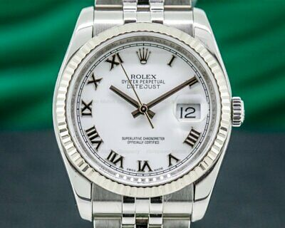 $ CDN10555.51 • Buy Rolex 116234 Datejust SS Jubilee Silver Roman Dial ORIGINAL BOX AND PAPERS!