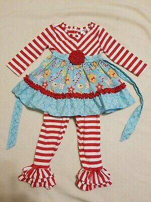 $9.99 • Buy Counting Dasies 2 Pc Dress & Pants Christmas Gingerbread Man Outfit-2T