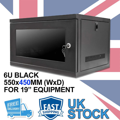 6U 19  450MM Network Cabinet Data Comms Wall Rack For Patch Panel, Switch, PDU • 59.99£