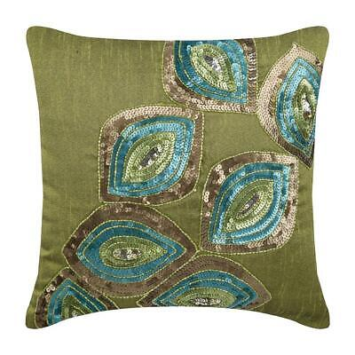 Decorative Large Cushion Cover 65x65 Cm Green Silk, Peacock - Peacock Abstract • 43.58£