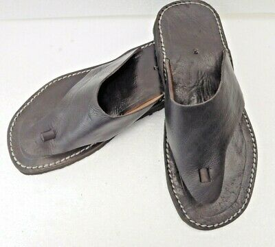 Mens 100% Moroccan Leather  Toe Post Flip Flops  * Sandals * Black  *   • 21.99£