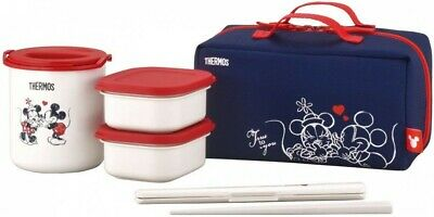 AU121.34 • Buy THERMOS Thermal Bento Lunch Box Disney Mickey & Minnie Mouse Navy Red