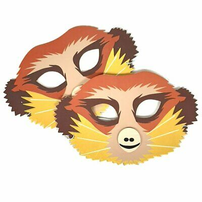 2 Foam Meerkat Face Masks - Party Bags Fancy Dress Storytelling Boy Girl Kids • 3.25£