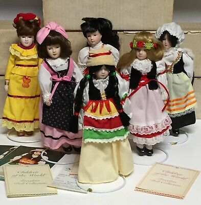 "$ CDN54.80 • Buy ""Children Of The World"" Porcelain Doll Lot Of 6 - Italy, Brazil, Spain, Poland"