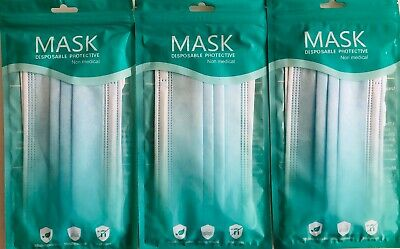 Face Masks 2 Pack Disposable 3 PLY SEALED • 2.95£