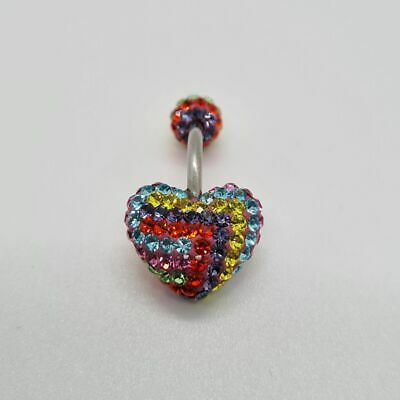 £7.99 • Buy Multicoloured Crystal Heart Belly Bar Piercing Made With Swarovski Crystals