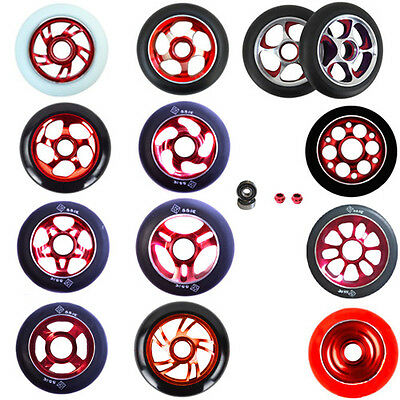 2X PRO STUNT SCOOTER RED METAL CORE WHEELS 100mm 110mm 88A ABEC 11 BEARINGS 9 • 29.99£