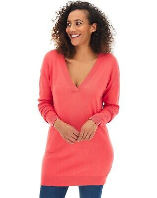 JD Williams Capsule Coral Slouchy V Neck Tunic Knitted Jumper Size 20/22 • 17.99£
