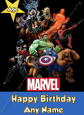 Marvel Heroes Hulk Spiderman Iron Man - Personalised Birthday Card Dad Son • 3.49£