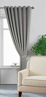£46.50 • Buy One Extra Long 300cm Drop Grey Window Curtain Eyelet Ring Top Blackout Tie Back