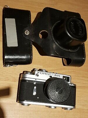 ZORKI 4K  35mm CAMERA In Case JUPITER 12 LENS 2,8/35  USSR Vintage Russian • 109£