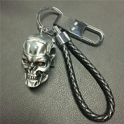 The Terminator Skull Key Chain Pendant Black Silvery Key Ring Buckle Braid AAA • 4.87£
