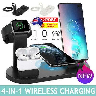 AU29.44 • Buy 4in1 Qi Wireless Charger Fast Charging Dock Stand For Airpods Apple Watch IPhone