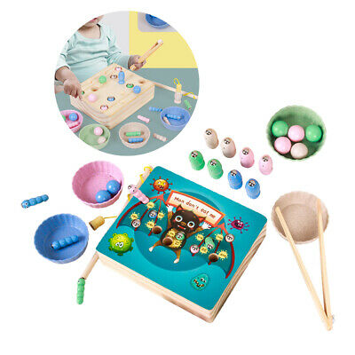 AU27.82 • Buy 32 PC Magnetic Wooden Kids Fishing Game For 2 3 4 5 6 Years Old Boys Girls Toy