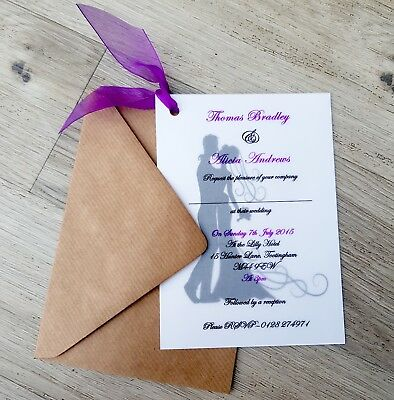 £5.95 • Buy Personalised Bride And Groom Vellum Wedding Invitations With Envelopes & Ribbon