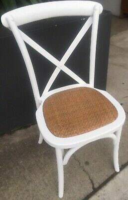AU119 • Buy **offer!! Stackable French Provincial Crossback Dining Chair White Birch/rattan