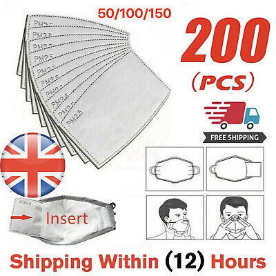 £4.99 • Buy 1Face Mask PM2.5 Activated Carbon Filter Replace Breath Insert Mask Filter - UK