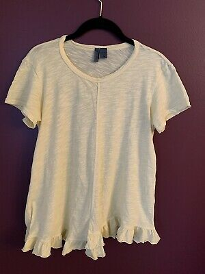 $ CDN16.80 • Buy Anthropologie Left Of Center Yellow Short Sleeve Ruffled Top Size XS
