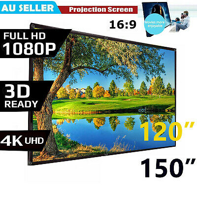 AU25.89 • Buy Portable 120''150'' Inch Projector Screen 16:9 Home Cinema Theater Diagonal Hook