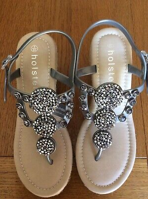 Ladies  Holster Silver Grey Jewelled Wedge Sandals BNWT Size 40/7 • 11£