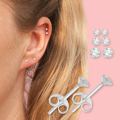 Very Attractive Small Tiny Round CZ Crystal Pure 925 Sterling Silver Ear Studs • 2.69£