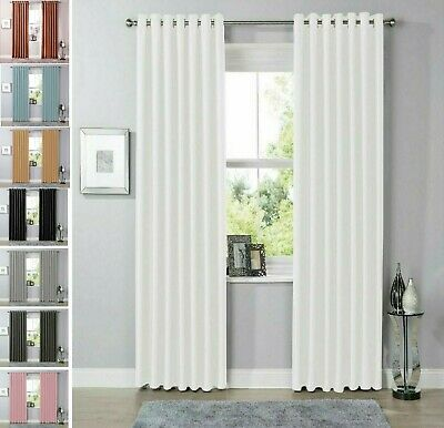 Luxury BLACKOUT Curtain Lined Eyelet Ring Top Ready Made Curtains All Size • 29.87£