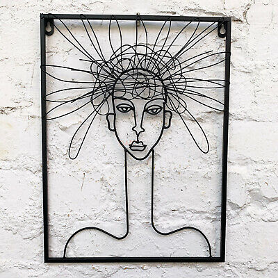 Wire Metal Sculpture Hairy Woman Female Minimalist Decorative Wall Abstract Art  • 26.99£