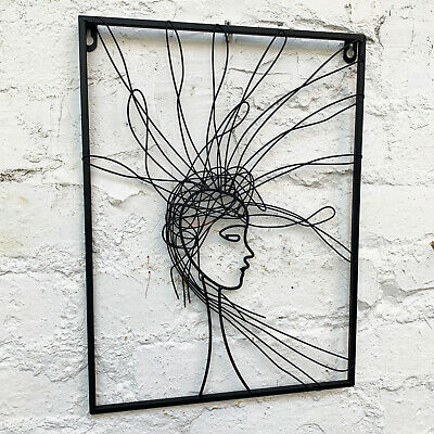 Wire Metal Sculpture Minimalist Hairy Woman Female Decorative Wall Abstract Art  • 26.99£
