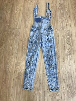 Girls Dungarees Age 9-10 Years AQ Blue D650 • 8.99£
