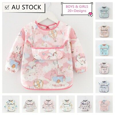AU6.99 • Buy Baby Kid Bib Apron Smock Waterproof Short Long Sleeve Art Feeding Painting 3m-4y