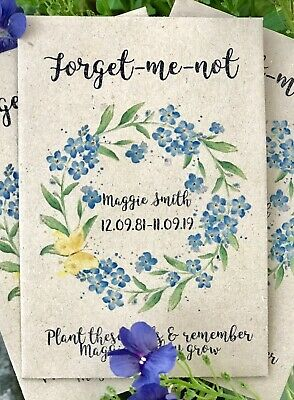 10 Personalised Forget-Me-Not Seeds Funeral Memorial Memory Remembrance Favour • 5.50£