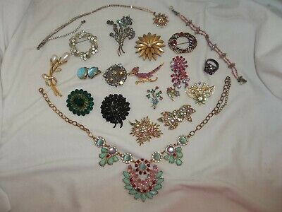 $ CDN33.37 • Buy 20 Vintage/Now Rhinestone Pink Necklace Brooch High End Jewelry Lot Signed Traid
