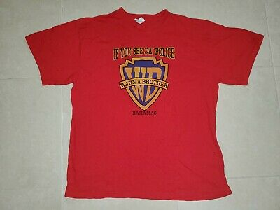 Vintage If You See Da Police Warn A Brother Red SHIRT Bahamas XL Funny 90s • 25.03£