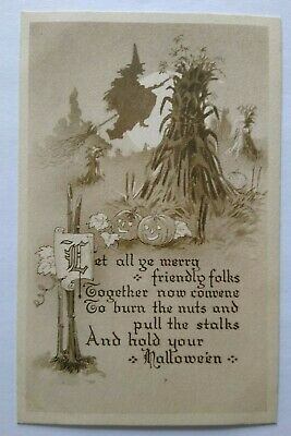 $ CDN115.43 • Buy Vintage Halloween Postcard Gibson Witch Flying By Pumpkin Patch Unused Sepia